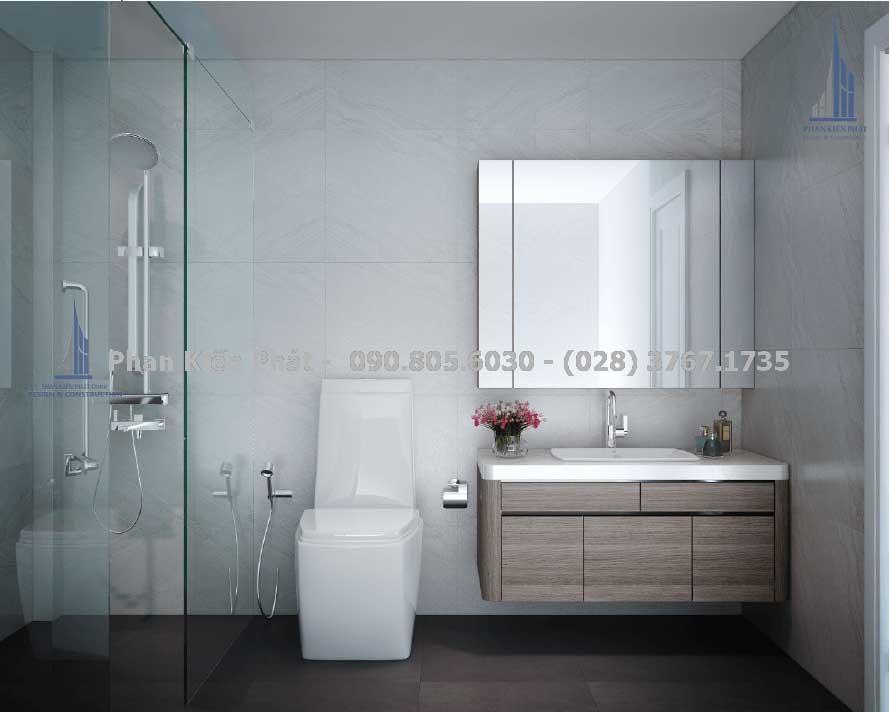 Phòng vệ sinh tiện nghi, hiện đại của mẫu nhà phố 4 tầng
