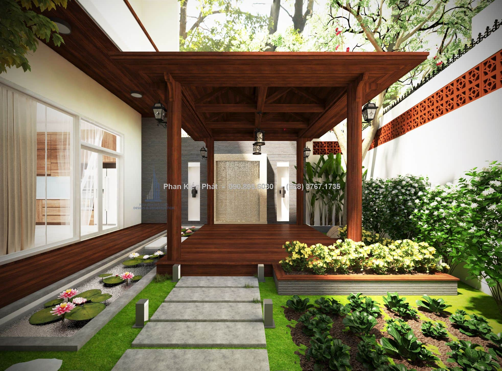 Tiểu cảnh sân vườn nhỏ được phối hợp hài hòa giữa cây cỏ và chất liệu gạch