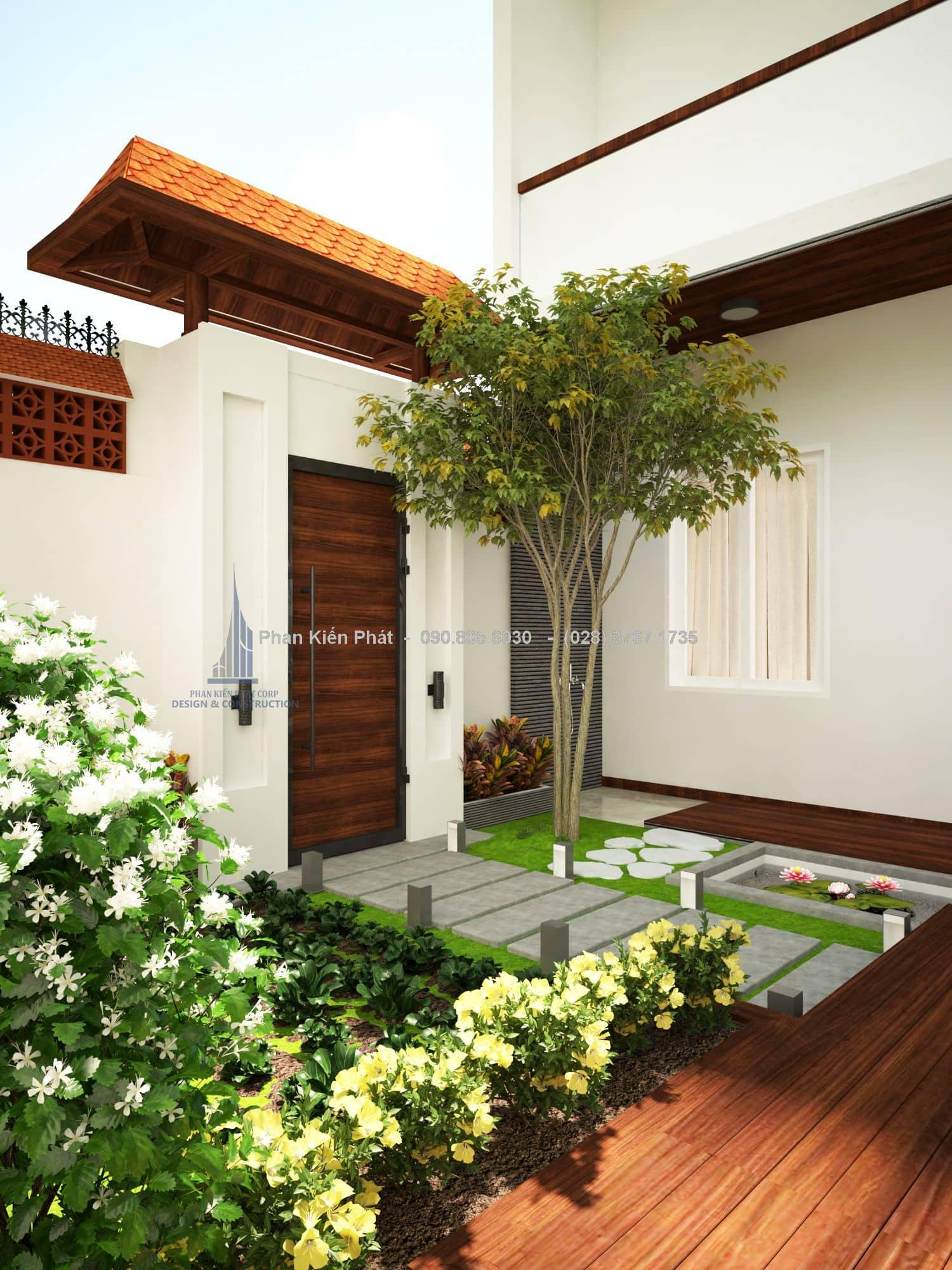 Góc vườn nhỏ đẹp trở nên sinh động hơn với cây xanh