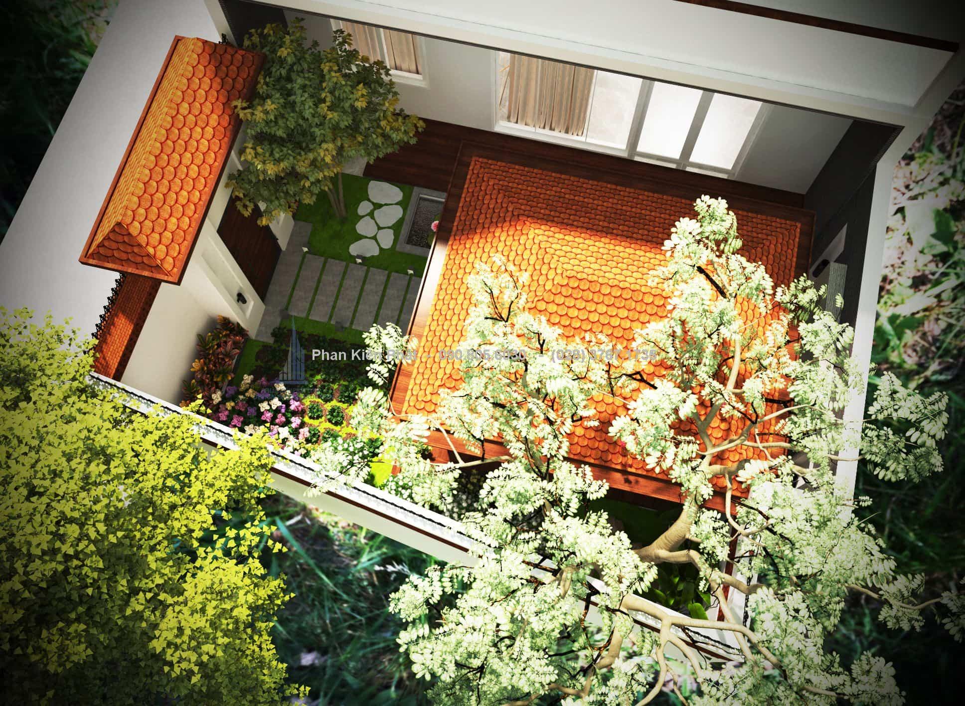 Mẫu thiết kế sân vườn đẹp sau nhà đơn giản