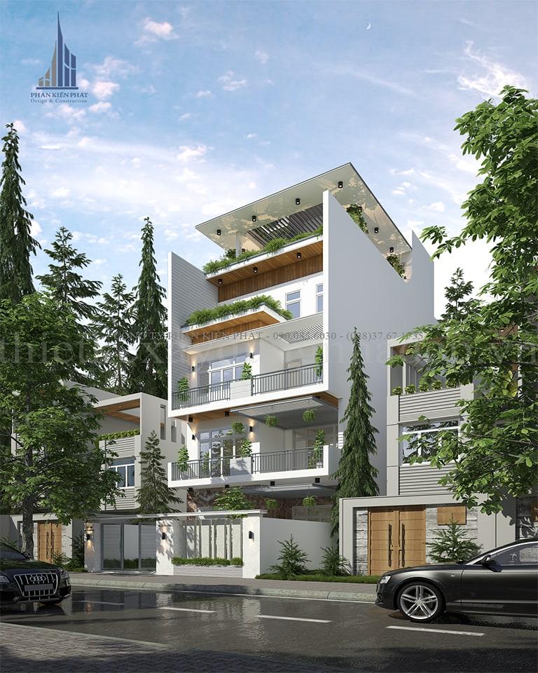 Mẫu biệt thự phố 5 tầng với phong cách thiết kế hiện đại