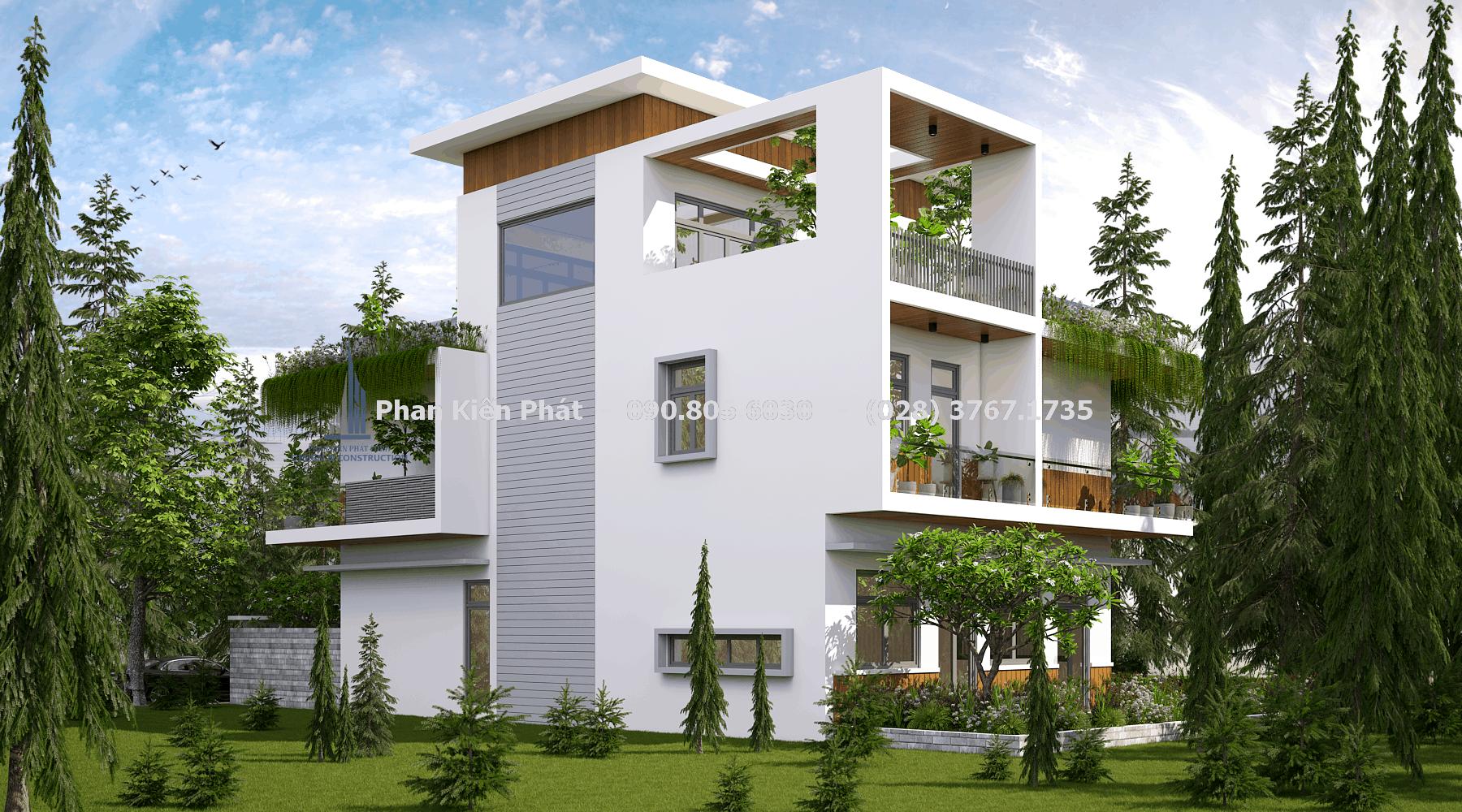Thiết kế kiến trúc nhà phố 3 tầng phong cách hiện đại thoáng mát