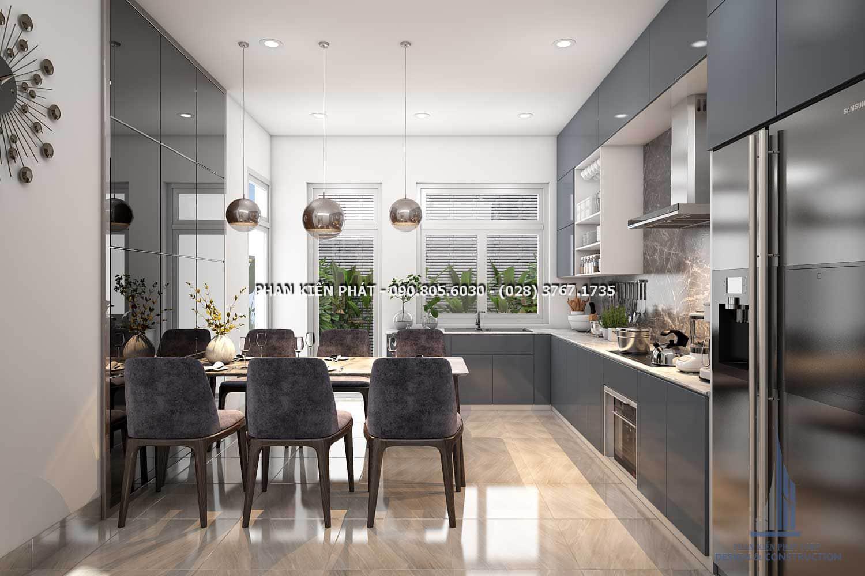 Phòng ăn hiện đại và ấm cúng, công năng được bố trí hợp lí và hài hòa