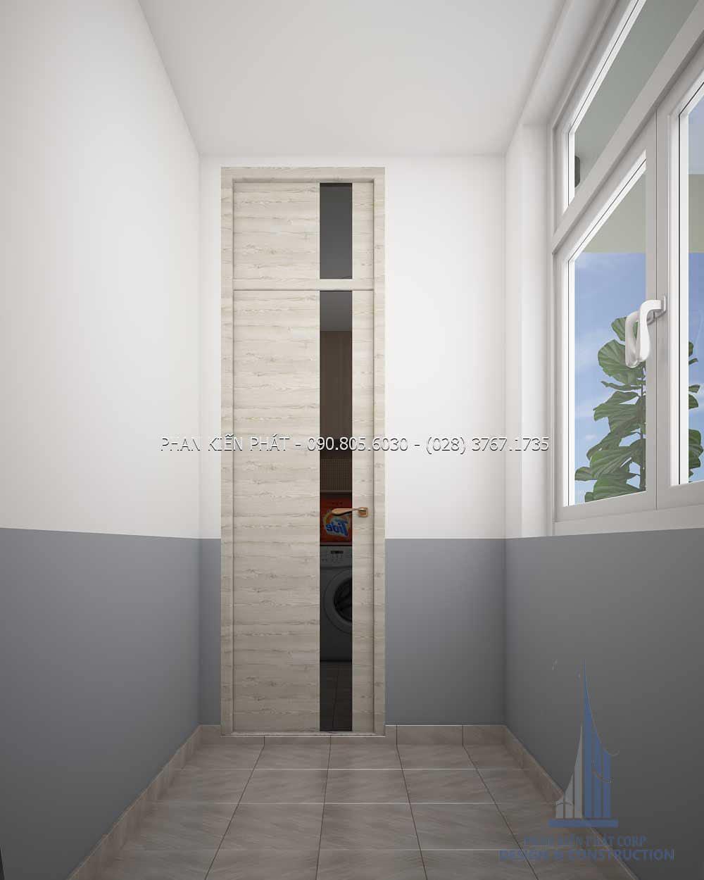 Phòng giặt ở mẫu nhà phố 4 lầu kết hợp với phòng khám