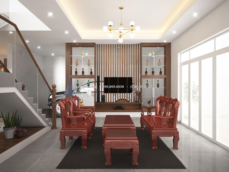 Phòng khách đơn giản với nội thất gỗ tinh tế