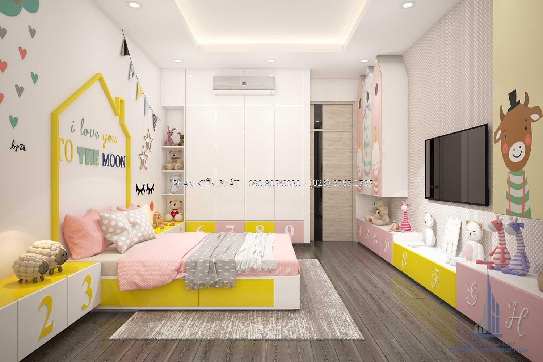 Phòng ngủ dành cho bé gái với những hình ngộ nghỉnh trong mẫu nhà phố 4 lầu