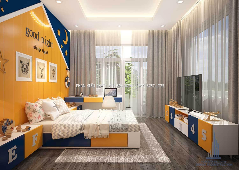 Trang trí phòng ngủ cho bé trai đầy cá tính trong mẫu nhà phố 5 tầng