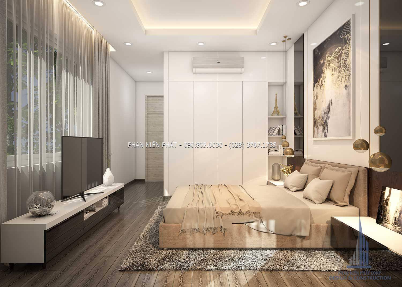 Phòng ngủ ông bà được thiết kế giản dị và tinh tế, thiết kế nhỏ gọn và tiện lợi cho ông bà sử dụng