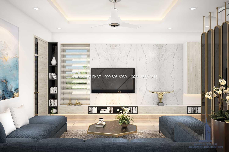 Phòng sinh hoạt chung thư giãn cho cả gia đình trong mẫu thiết kế nhà phố 4 lầuđẹp