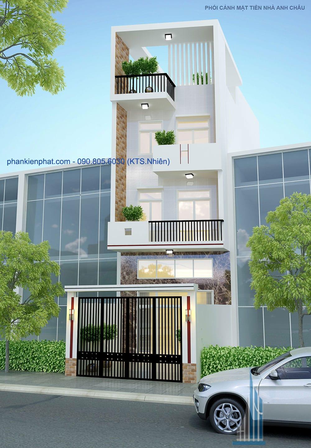 Thiết kế thi công công trình nhà phố 5 tầng tại Quận 8