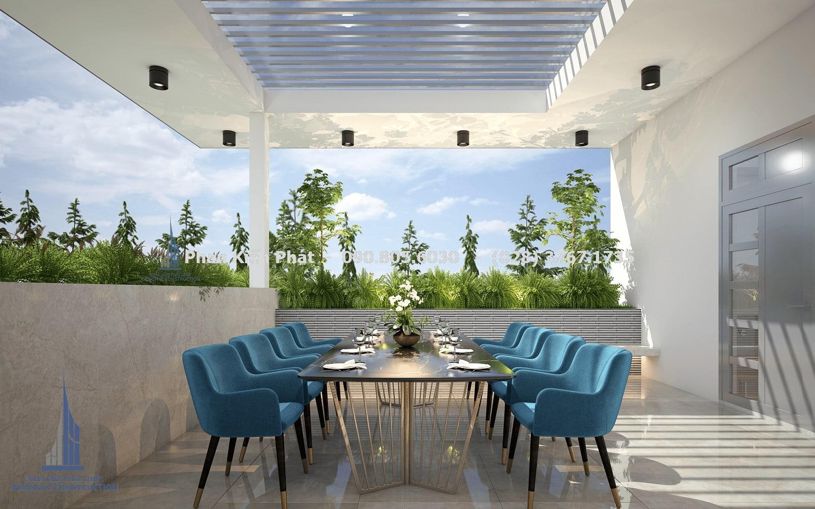 Thiết kế phòng ăn trên sân thượng, cây cảnh được bao quanh tạo cảm giác mát mẻ góc 2
