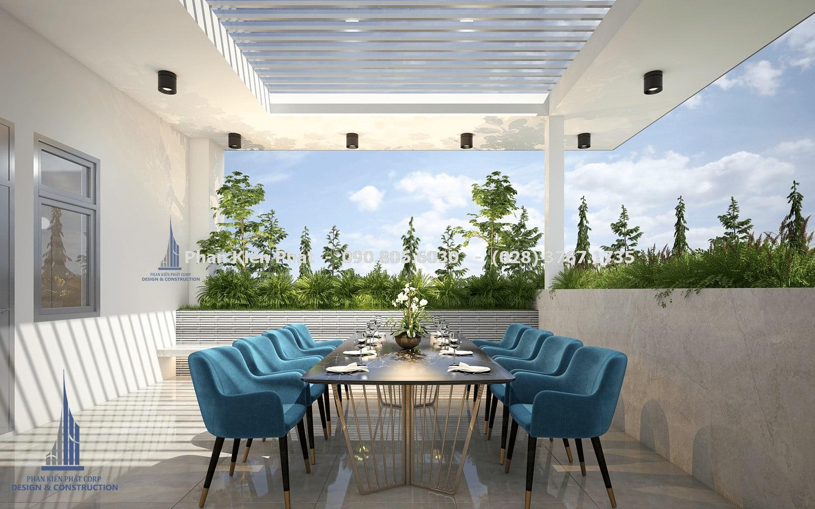 Thiết kế phòng ăn trên sân thượng, cây cảnh được bao quanh tạo cảm giác mát mẻ góc 3