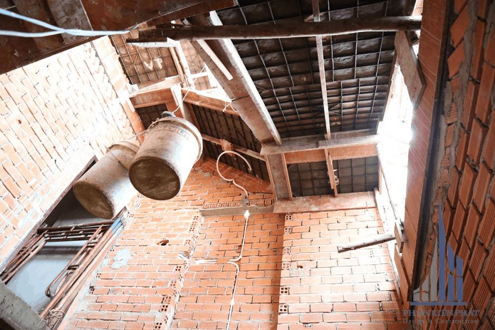 Tường bao tầng mái sau khi xây