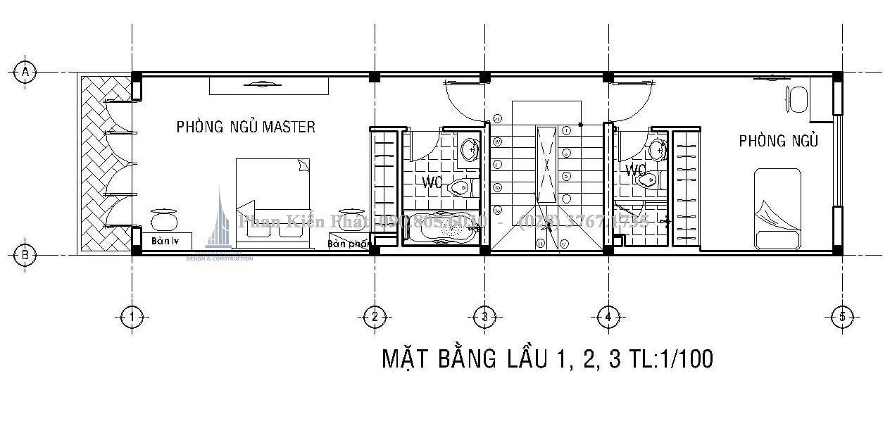 Mặt bằng lầu 1-2-3 nhà bán cổ điển