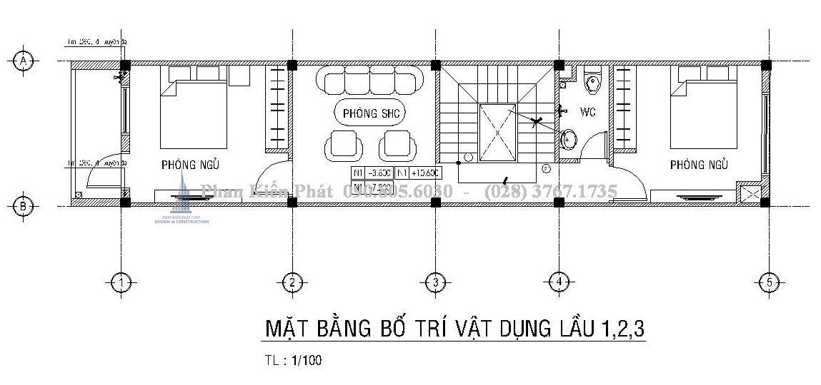 Bố trí mặt bằng lầu 1, 2, 3 nhà phố lệch tầng 1 trệt 3 lầu