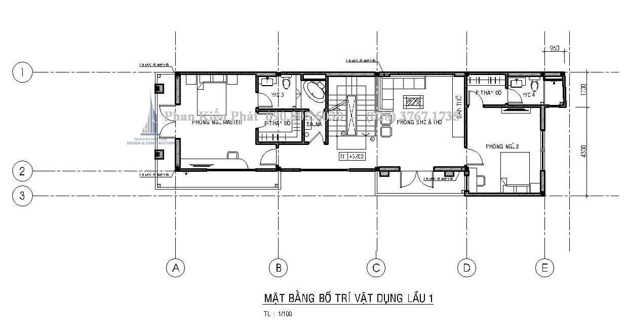 Mặt bằng lầu 1 trong mẫu thiết kế nhà phố 1 trệt 2 lầu