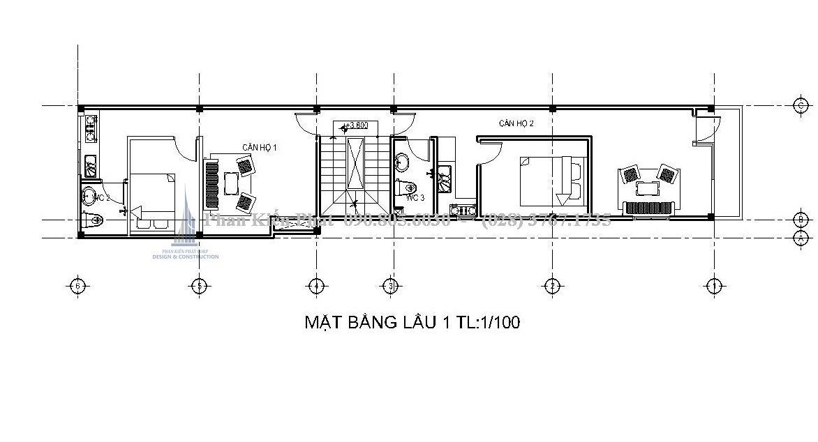 bố trí mặt bằng lầu 1 nhà phố 1 trệt 3 lầu