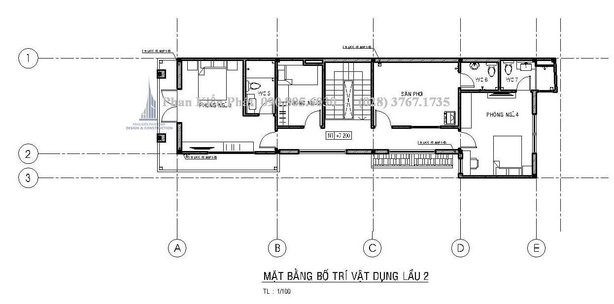 Mặt bằng lầu 2 trong mẫu thiết kế nhà phố 1 trệt 2 lầu
