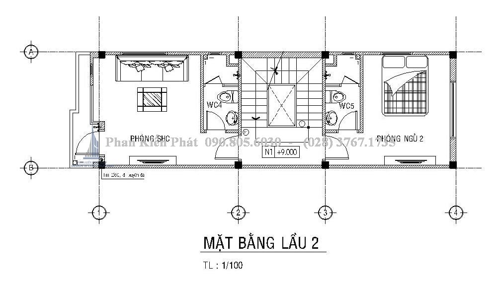 Mặt bằng lầu 2 trong mẫu thiết kế nhà 1 trệt 1 lửng 2 lầu