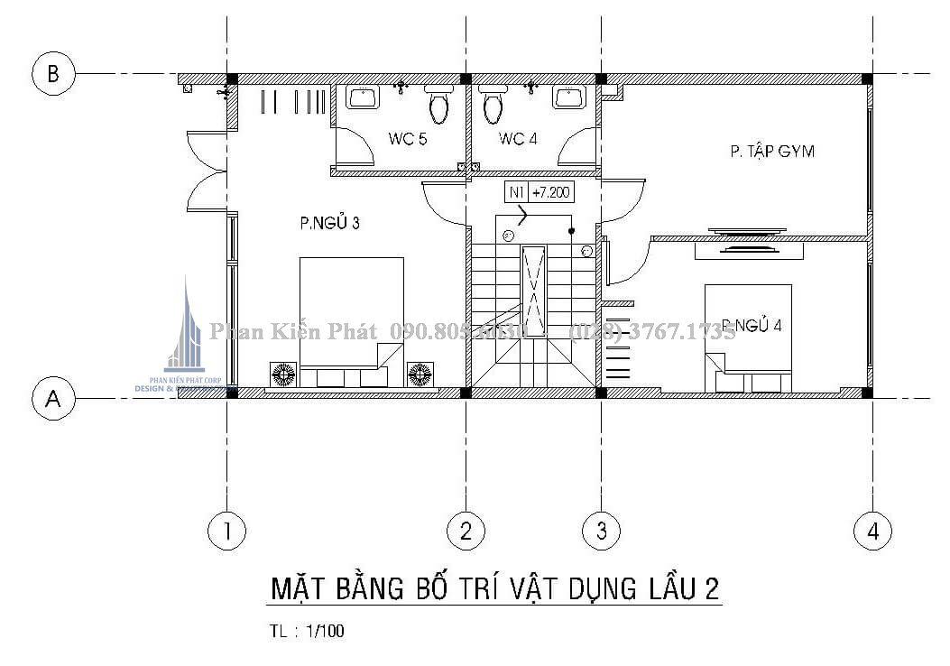 Bố trí mặt bằng lầu 2 nhà ống cao tầng