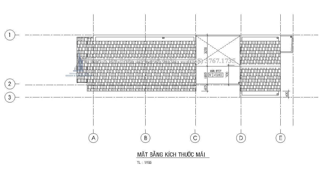 Mặt bằng mái trong mẫu thiết kế nhà phố 1 trệt 2 lầu