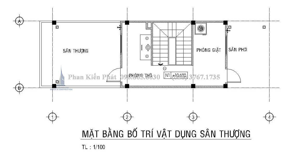 Mặt tầng sân thượng nhà phố 1 trệt 2 lầu sân thượng