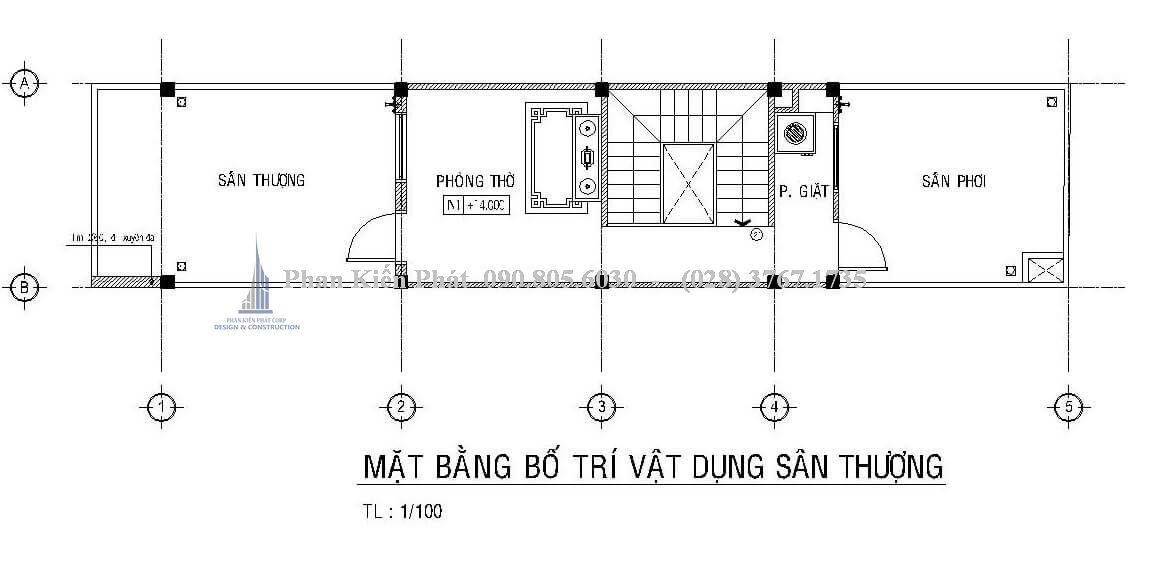Bố trí mặt bằng sân thượng nhà phố lệch tầng 1 trệt 3 lầu