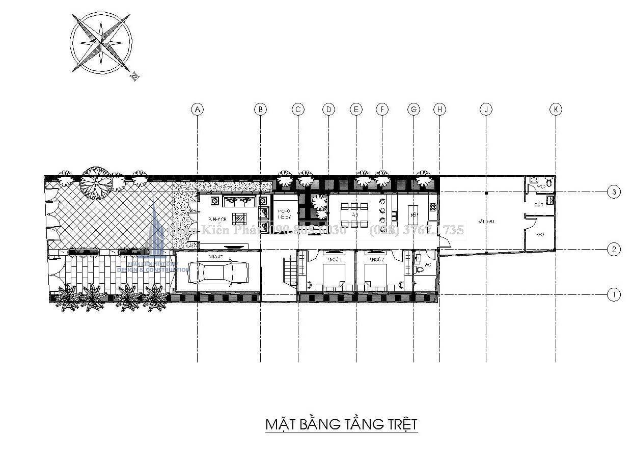 Bản vẽ biệt thự mini 2 tầng mái thái