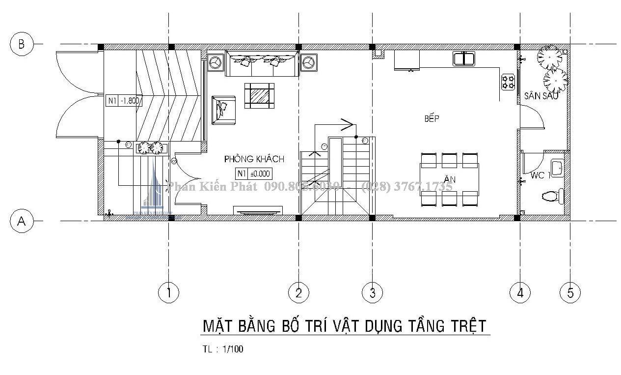 bố trí mặt bằng tầng trệt nhà phố 4 tầng hiện đại