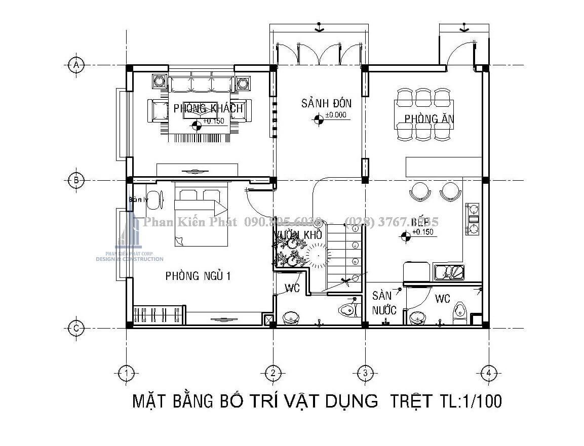 Thiết kế tầng trệt biệt thự phố