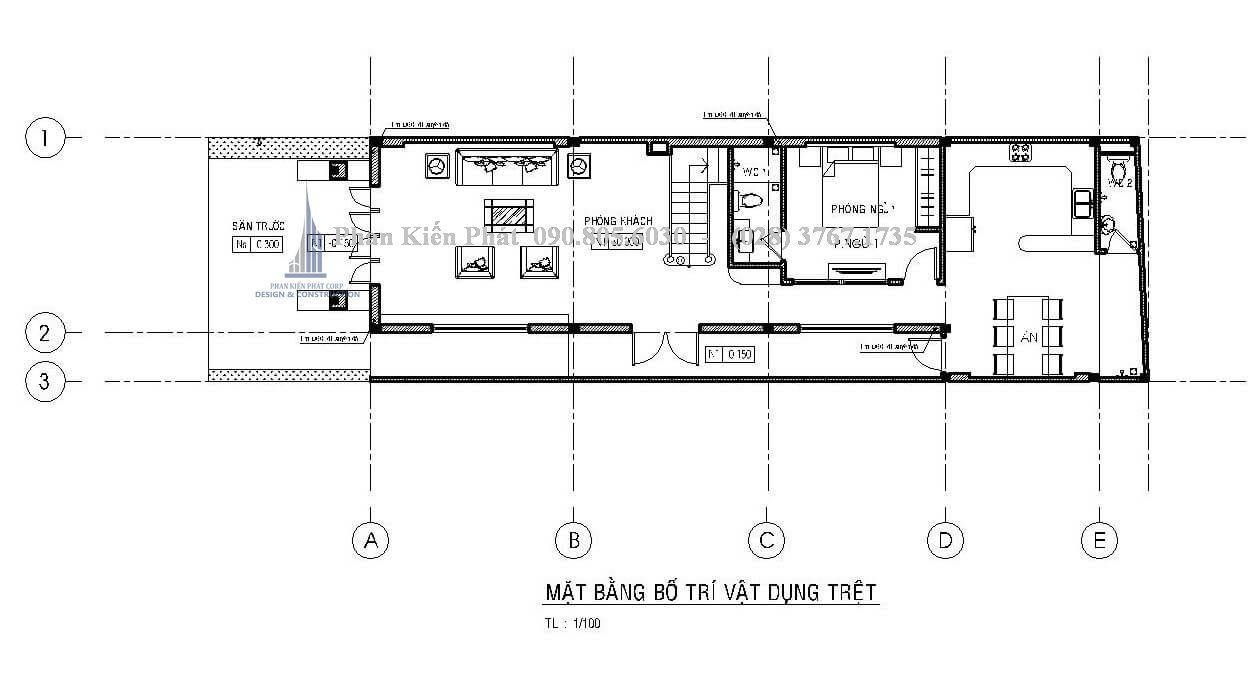 Mặt bằng trệt trong mẫu thiết kế nhà phố 1 trệt 2 lầu