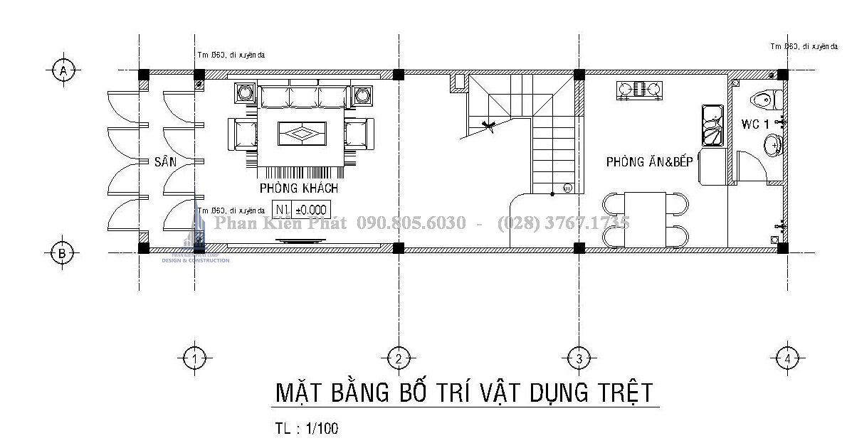 Mặt tầng trệt nhà phố 1 trệt 2 lầu sân thượng