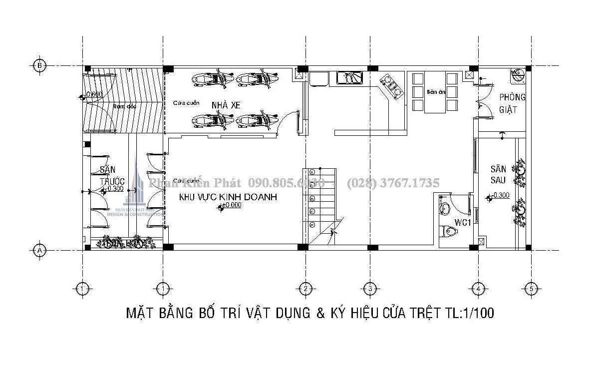 bố trí mặt bằng trệt nhà 1 trệt 3 lầu