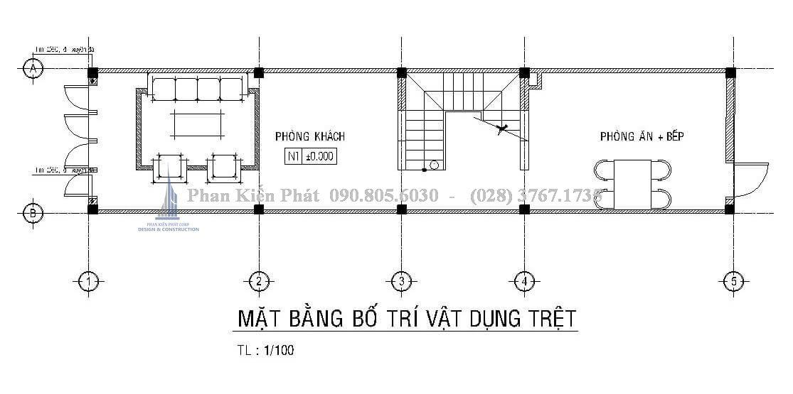 Bố trí mặt bằng trệt nhà phố lệch tầng 1 trệt 3 lầu