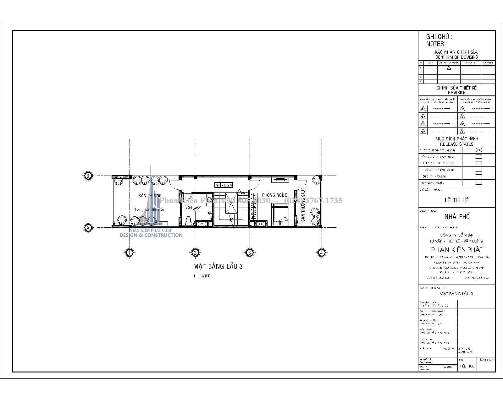 Bố trí mặt bằng lầu 3 nhà phố hiện đại 1 trệt 3 lầu