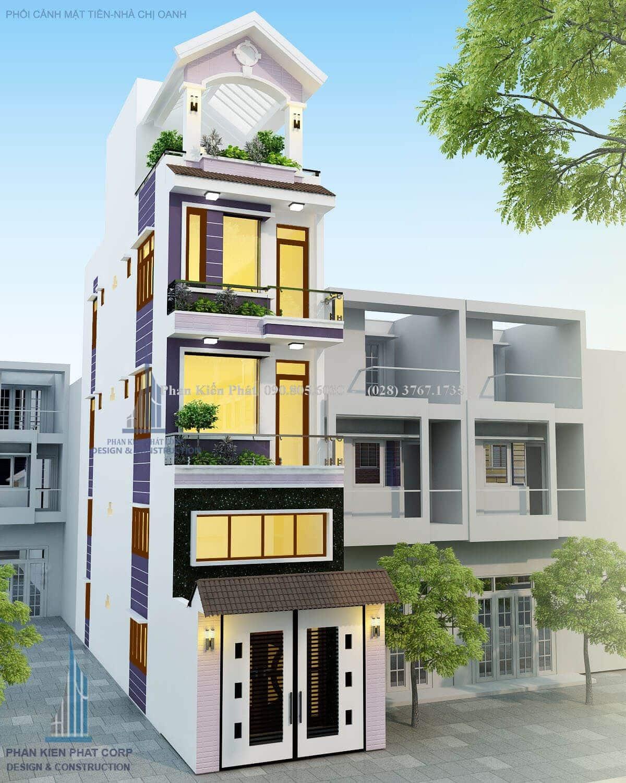 Thiết kế nhà phố 1 trệt 1 lửng 2 lầu đẹp