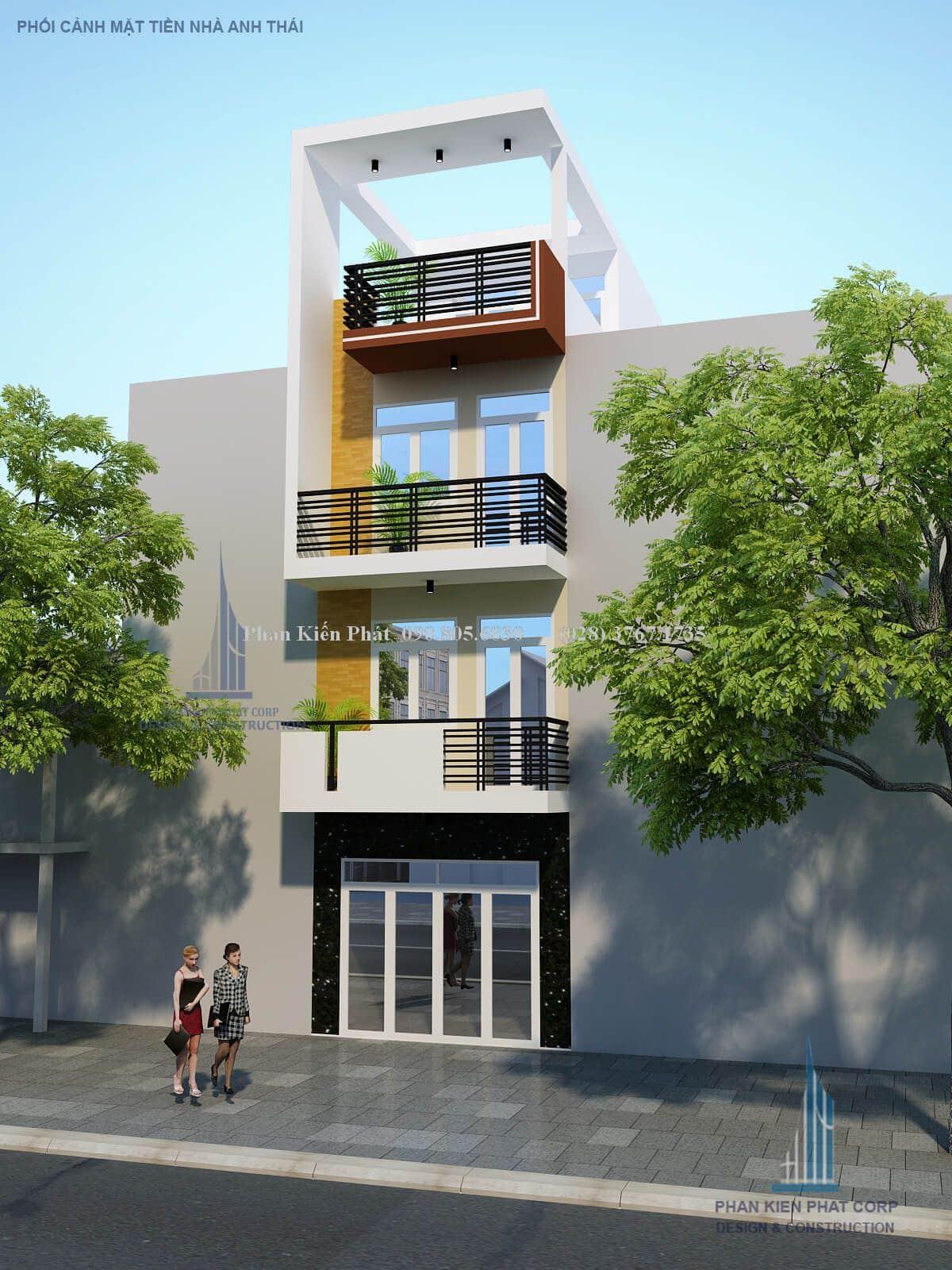Mẫu thiết kế nhà phố 1 trệt 2 lầu sân thượng mặt tiền 4m