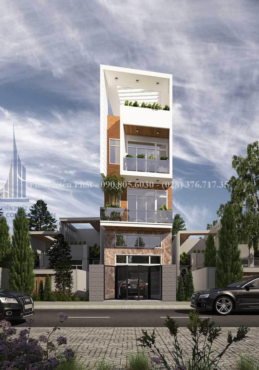 Mẫu thiết kế nhà ống kinh doanh rộng 4m 5 tầng đẹp anh Lựu Hóc Môn, Tp.HCM view 2