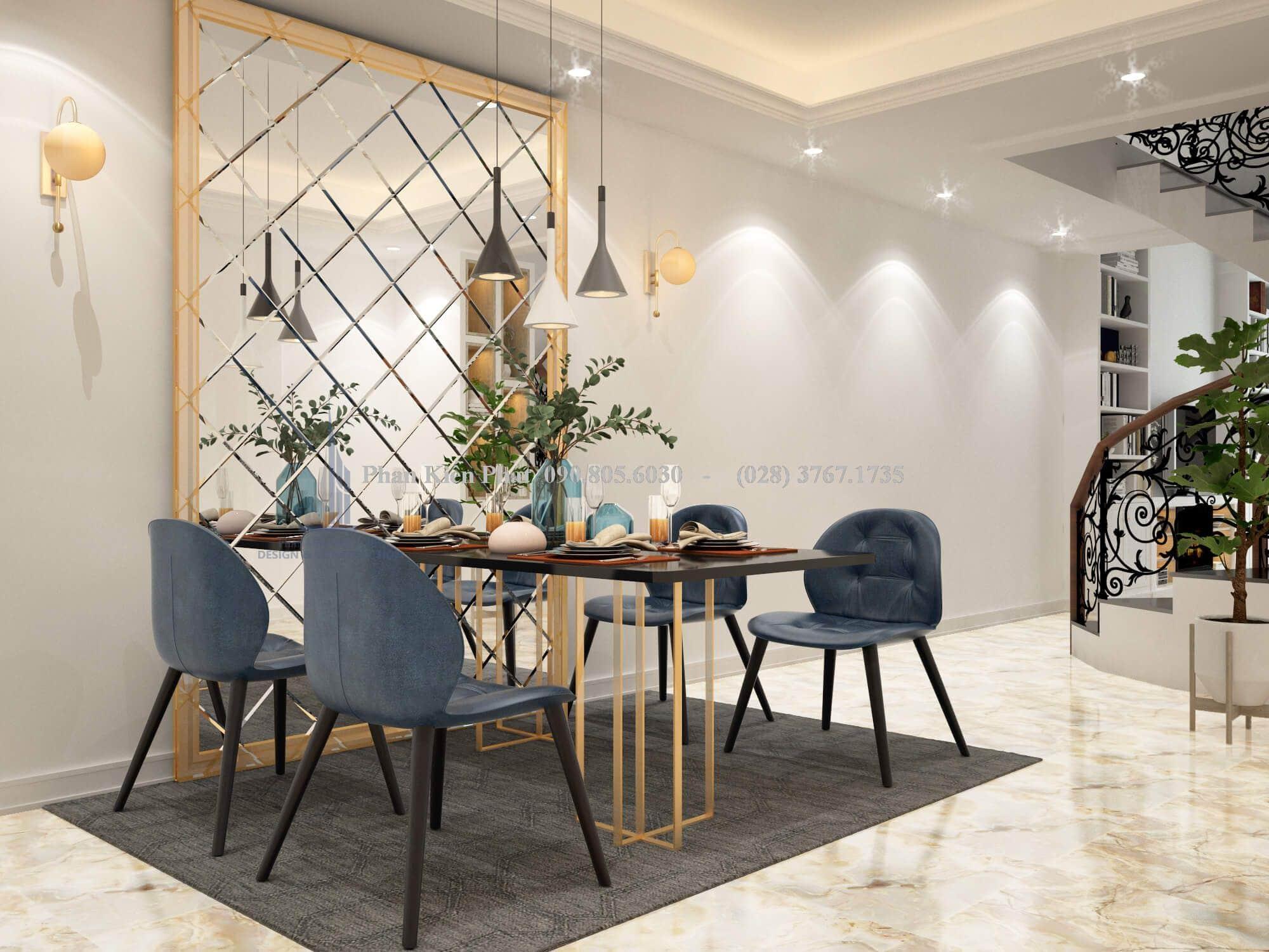 Phòng ăn sử dụng gương ghép ô dán tường trang trí