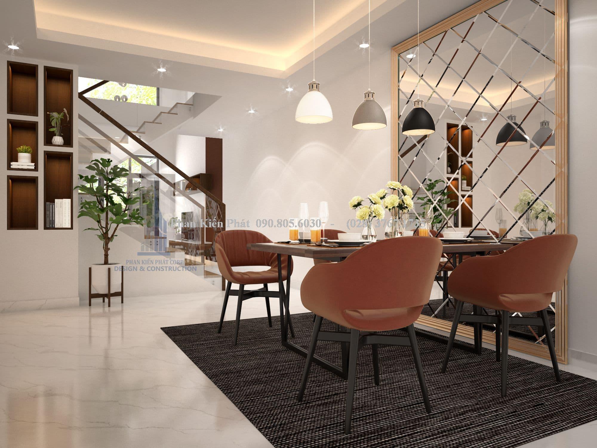 Phòng ăn nhà phố hiện đại 1 trệt 3 lầu