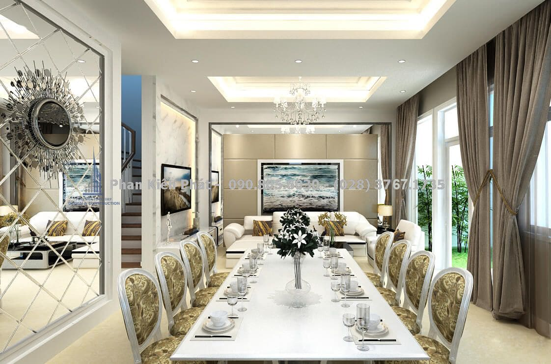 Gương trang trí phòng ăn trong mẫu biệt thự bán cổ điển
