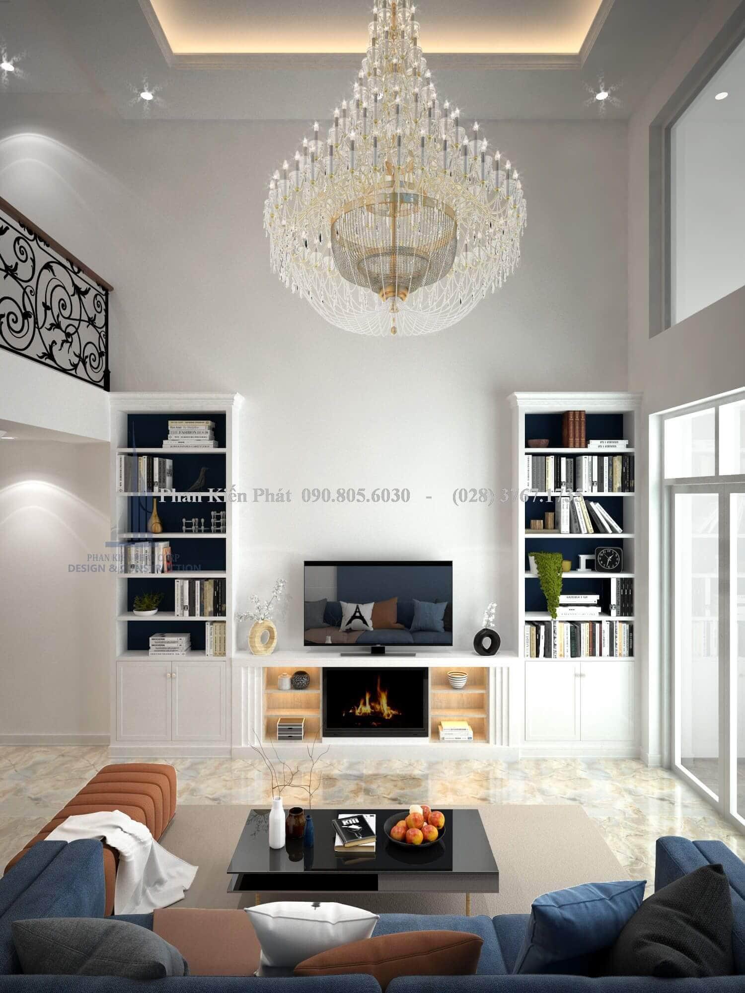 Thiết kế nội thất phòng khách cổ điển đẹp