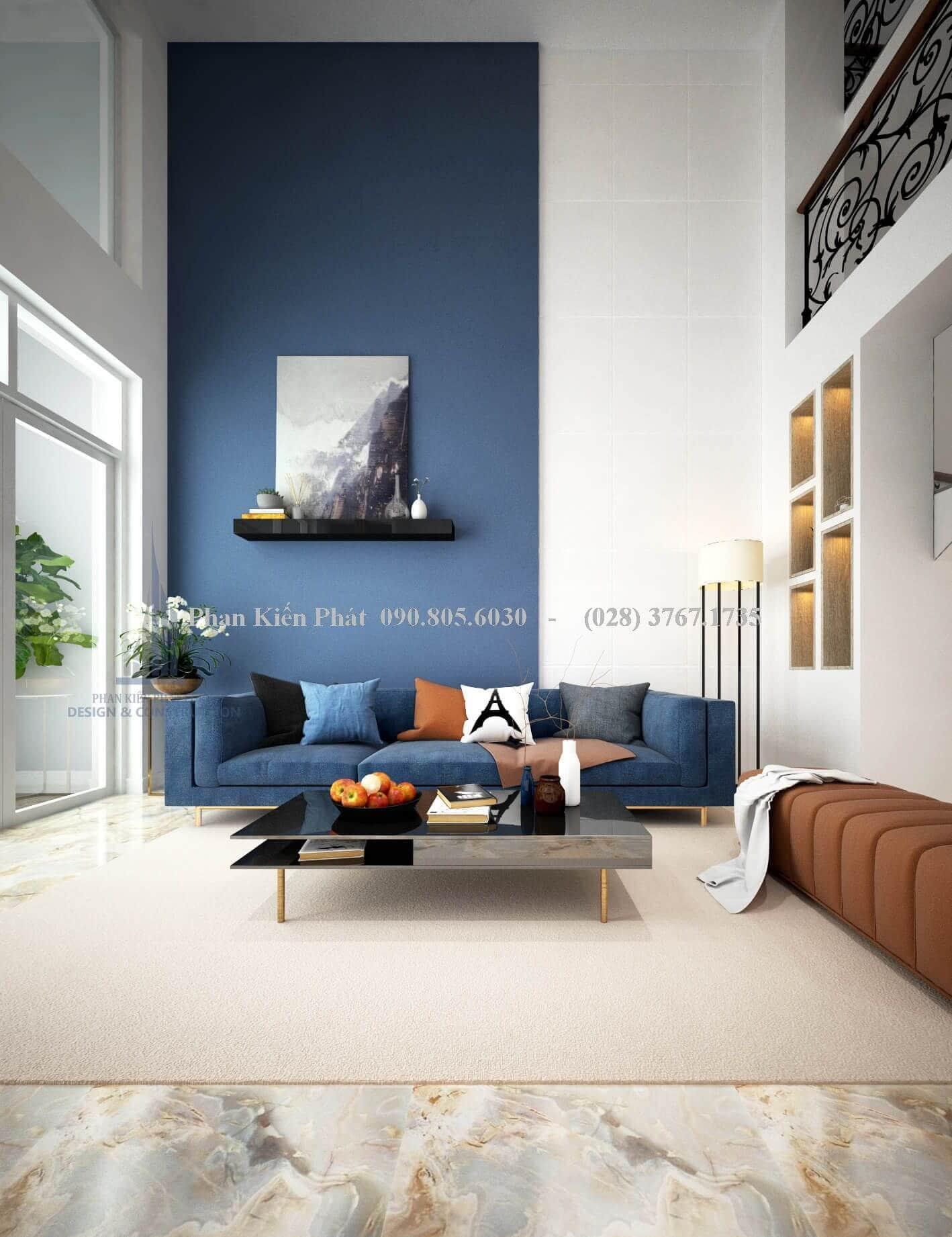 Phòng khách ấn tượng hơn với bộ ghế sofa xanh navy đẹp