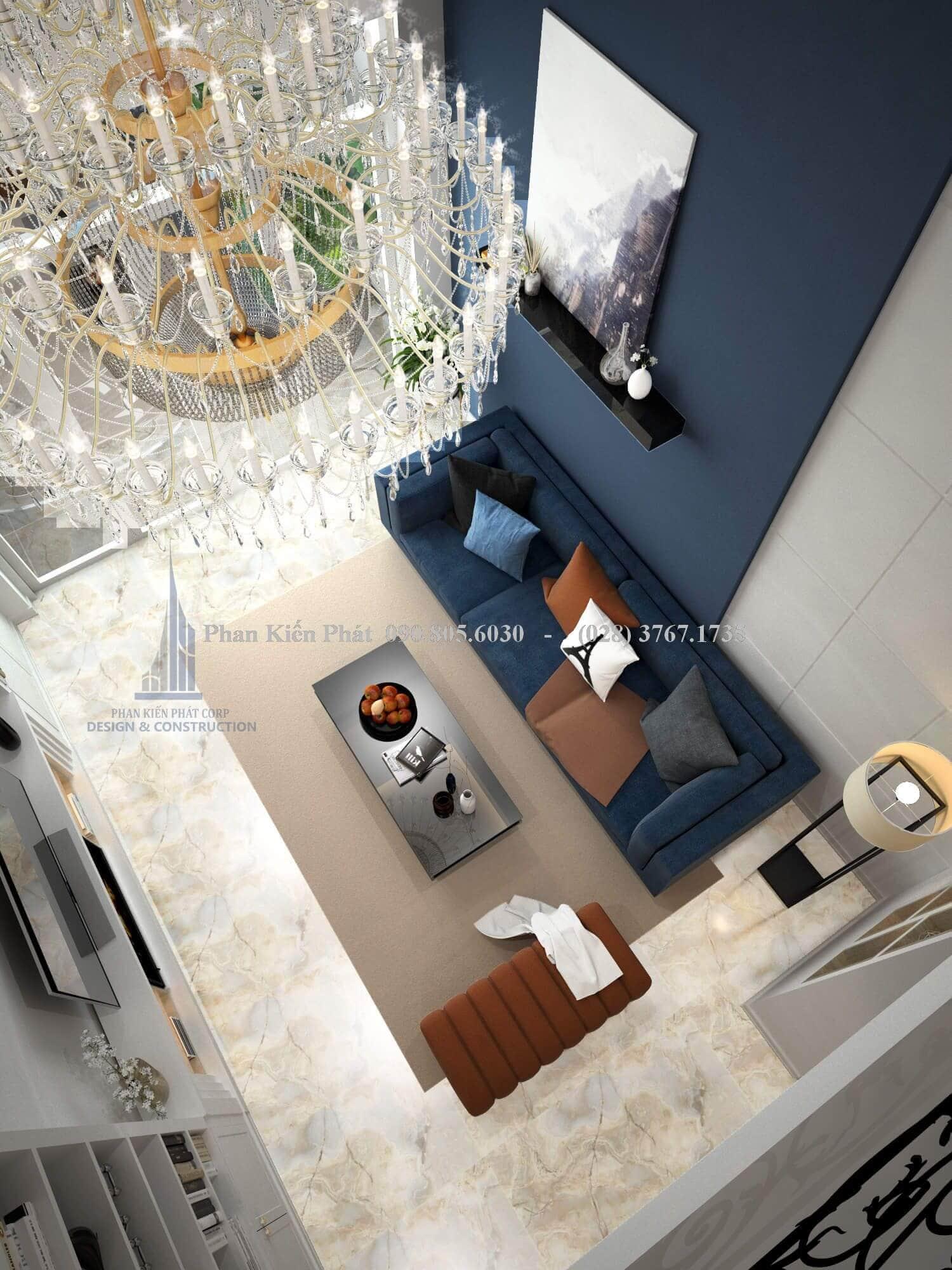 Phòng khách sang trọng và đẳng cấp nhà phố cổ điển 1 trệt 3 lầu