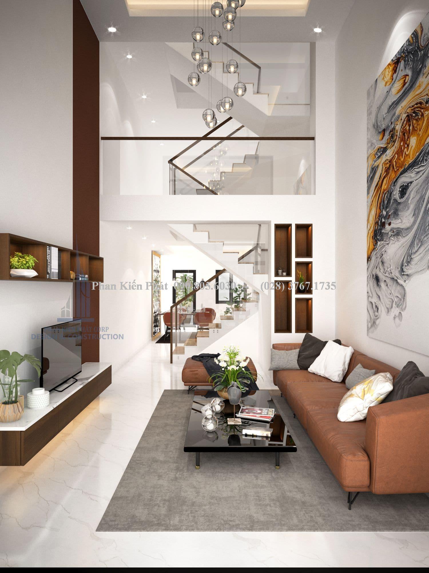 Nội thất phòng khách nhà phố hiện đại đẹp góc view 1