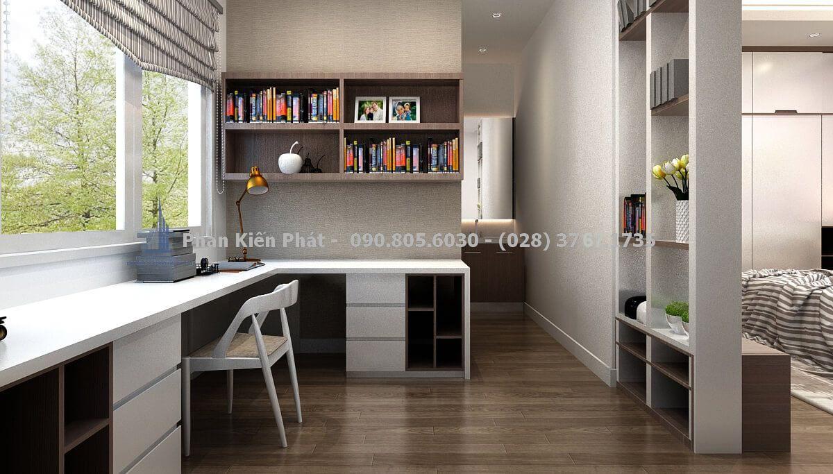 Kệ trang trí được thiết kế như tấm vách ngăn giữa phòng làm việc với phòng ngủ