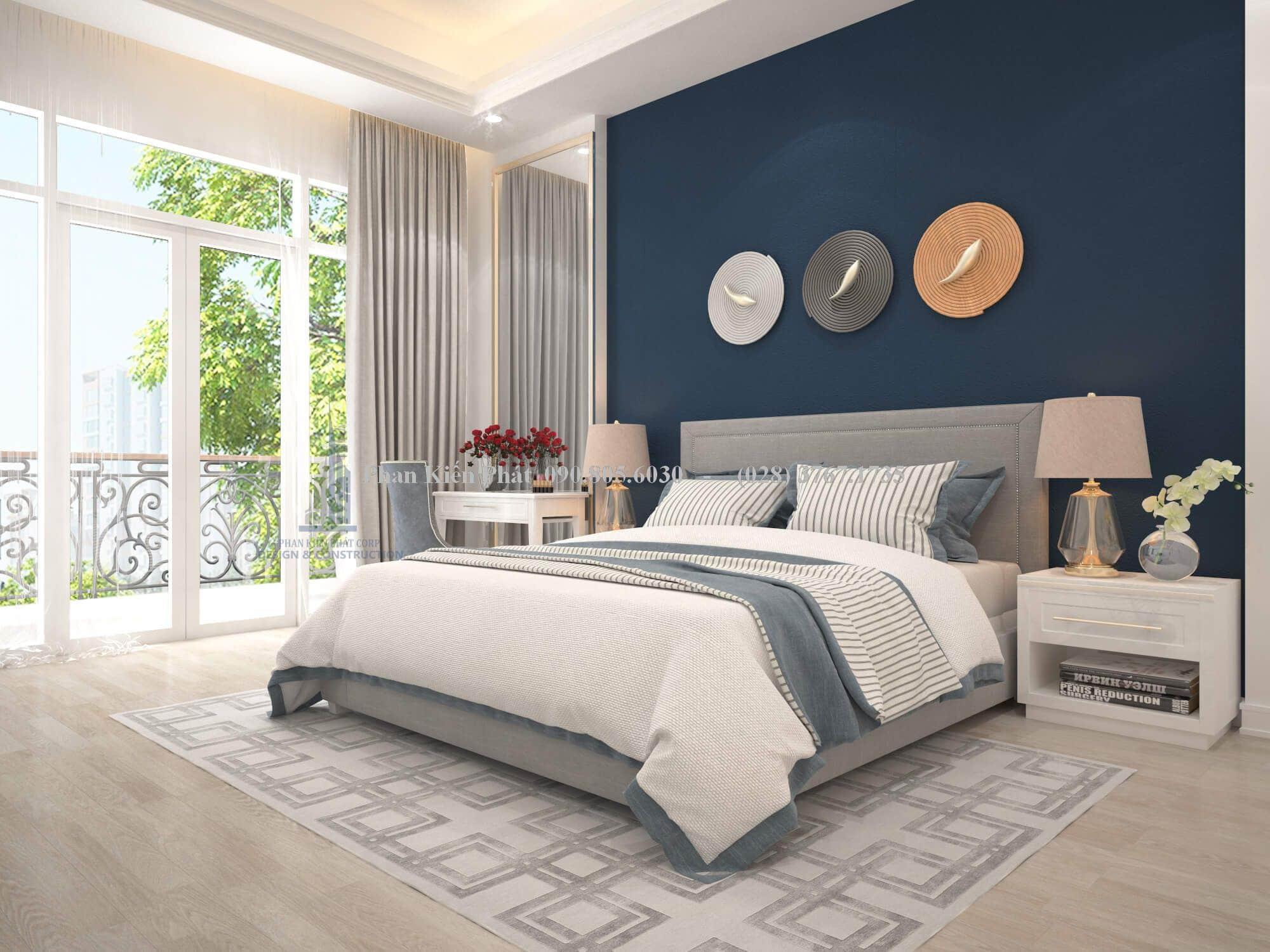 Phòng ngủ đẹp hơn với màu xanh navy tươi mới