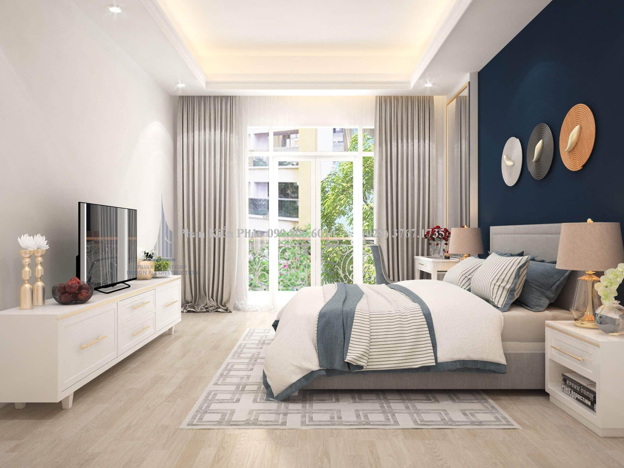 Phòng ngủ với thiết kế cổ điển cùng cách phối màu độc đáo hài hòa