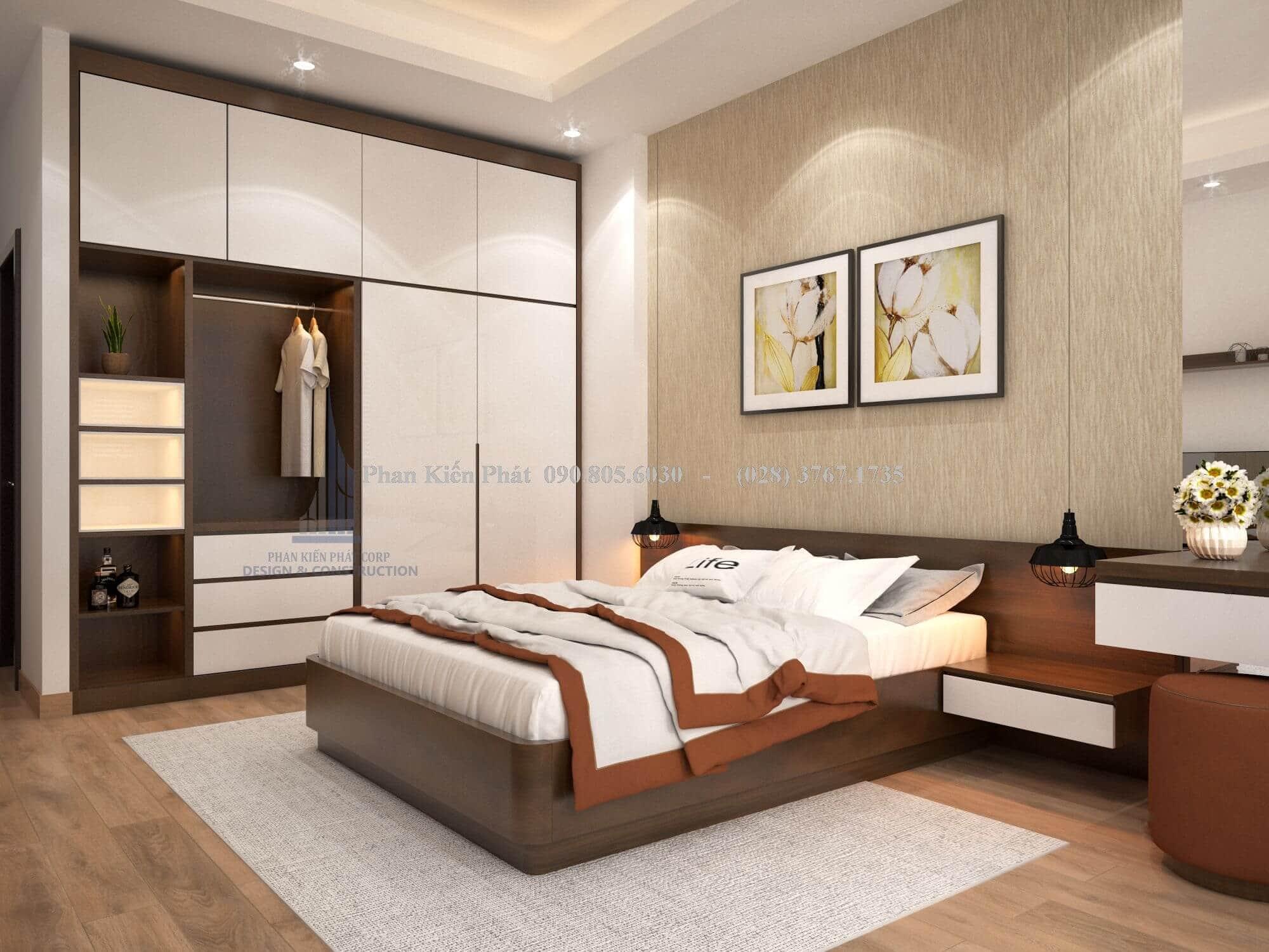 Thiết kế nội thất tủ gỗ rộng rãi sát tường tiết kiệm tối đa diện tích