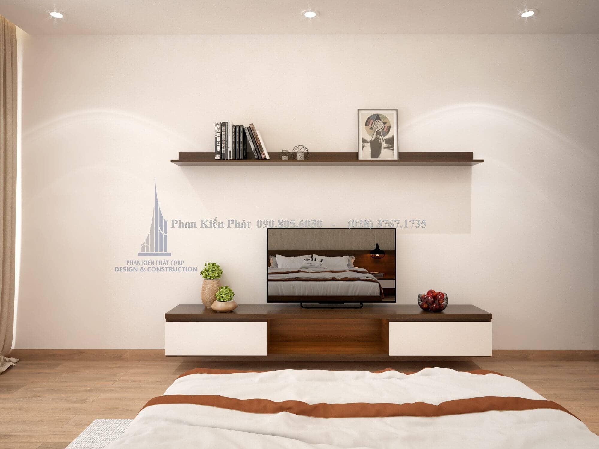 Kệ tivi kết hợp với giá sách treo tường trong không gian phòng ngủ
